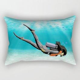 Female S.C.U.B.A. Diver Rectangular Pillow