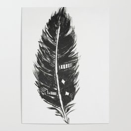Black feather painting - abstract black feather Poster
