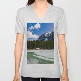 Canoeing in the Mountains Unisex V-Neck