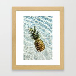 Floating on Cool Sunny Water Pineapple Fruit Summer Happiness Pop Art Modern Chic Home Decor Gallery Framed Art Print