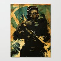 master chief Canvas Prints featuring Gamer print by Fan Prints
