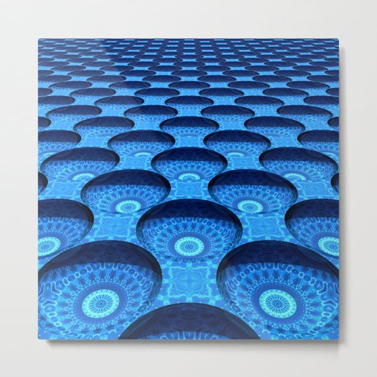 Blue Dimples with Kaleidoscopes Metal Print