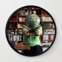 globe Wall Clocks featuring Globe by Kelly Nicolaisen