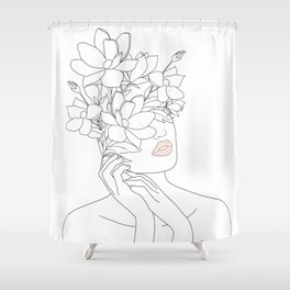 Minimal Line Art Woman with Magnolia Shower Curtain