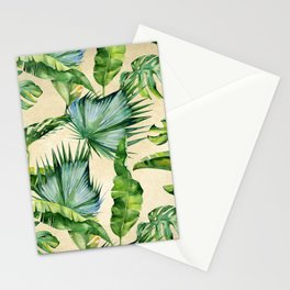 Green Tropics Leaves on Linen Stationery Cards