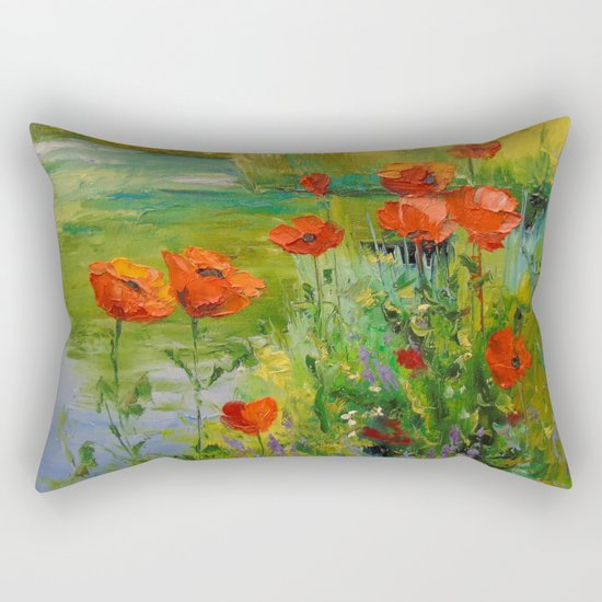 Poppies by the pond Rectangular Pillow