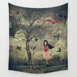 Girl on a swing in the woods Wall Tapestry