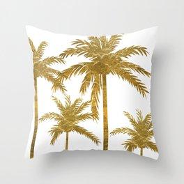 Gold Palm Trees Throw Pillow