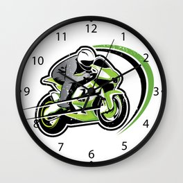 Motorcycle green racer  Wall Clock