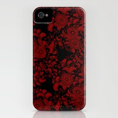Chrysanthemums Red on Black iPhone (4, 4s) Slim Case