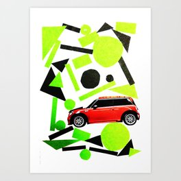 Green way but Red car Art Print