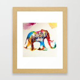 Colorful India Elephant Vintage Travel Love Watercolor Framed Art Print
