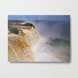 Aerial view of a majestic and powerful waterfall Metal Print