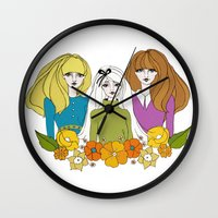 60s Wall Clocks featuring 60s girls by Bunny Miele