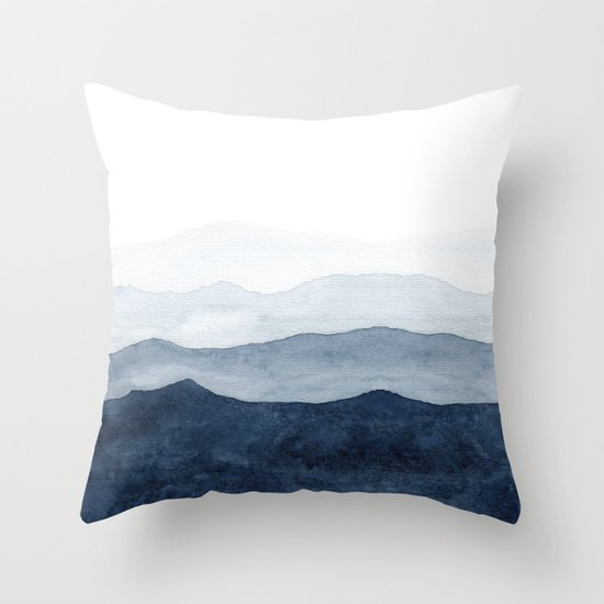 Indigo Abstract Watercolor Mountains by ccartstudio