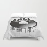 edm Duvet Covers featuring Urban Vinyl by Sitchko Igor