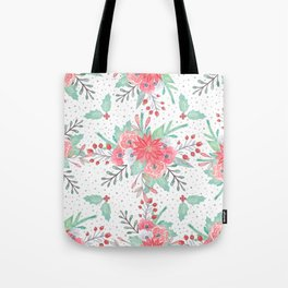 Pretty watercolor Christmas floral and dots design Tote Bag