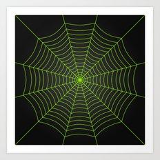 Neon green spider web Art Print