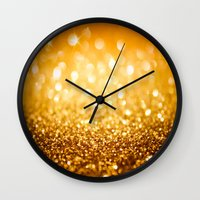 gold glitter Wall Clocks featuring Gold Glitter Texture by Robin Curtiss