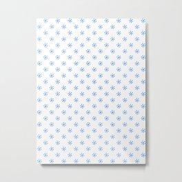 Brandeis Blue on White Snowflakes Metal Print