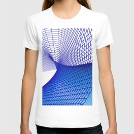 Curved blue surface T-shirt