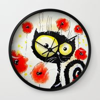 poppies Wall Clocks featuring Poppies  by Katja Main