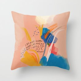 Find Joy. The Abstract Colorful Florals Throw Pillow