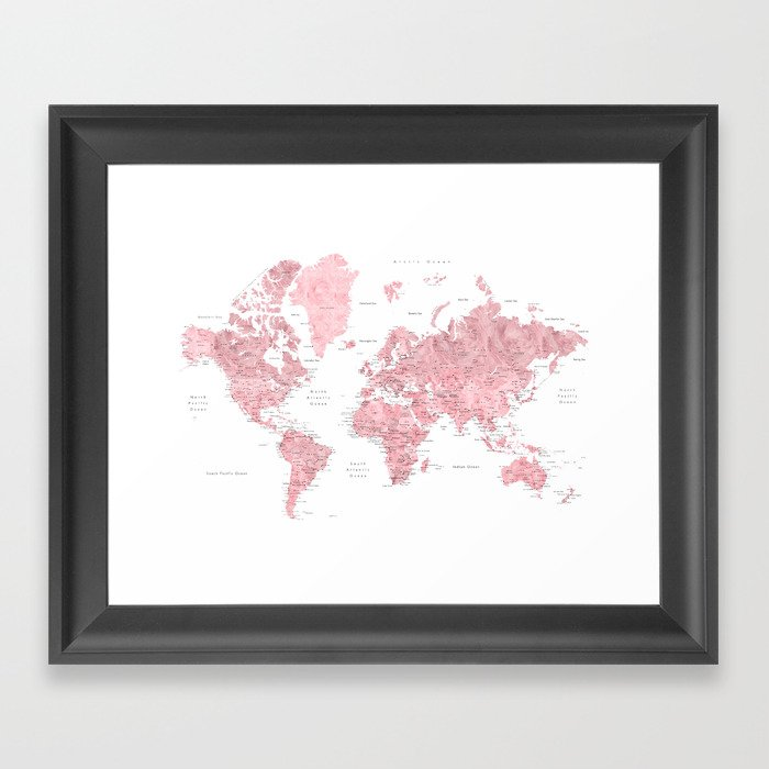 Light pink, muted pink and dusty pink watercolor world map with cities Gerahmter Kunstdruck