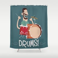 drums Shower Curtains featuring Drums! by soy8bit