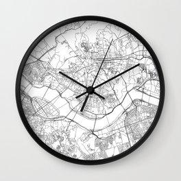Seoul White Map Wall Clock