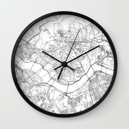 Seoul White Map Wall Clock