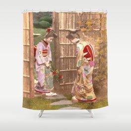 Japanese women walking on stepping stones Shower Curtain
