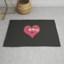 Heart face with patch Rug