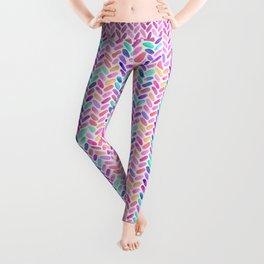 Rainbow Herringbone Watercolor Oblongs Leggings