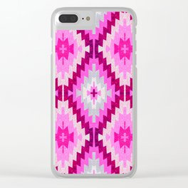 Kilim pink Moroccan print //Moroccan rug Clear iPhone Case