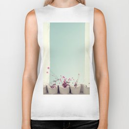 Pink flowers on the white rooftop Biker Tank