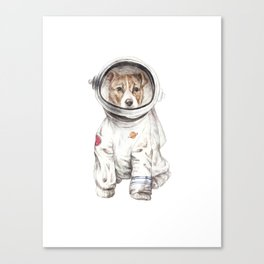 Laika Dog Watercolor Illustration Space Pup Canvas Print
