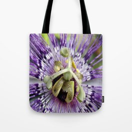 Purple Passion Flower Close Up Tote Bag