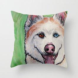 Red Siberian Husky Throw Pillow