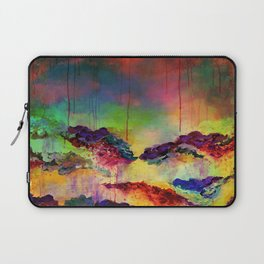 IT'S A ROSE COLORED LIFE 4 - Deep Red Colorful Floral Garden Abstract Crimson Green Painting Laptop Sleeve