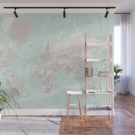 """Detailed world map with coral, seaweed and marine creatures, """"Lenore"""" Wall Mural"""
