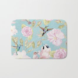 Pastel Teal Vintage Roses and Hummingbird Pattern Bath Mat