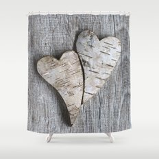 two wooden hearts love symbol Shower Curtain