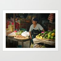 indonesia Art Prints featuring Vegetable Stand. Java, Indonesia. by Hereness & Thereness