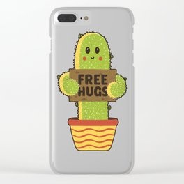 Free Hugs Cactus Clear iPhone Case