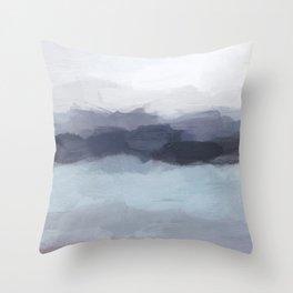 Plum Purple Navy Indigo Ocean Sky Blue Waves Sunset Abstract Nature Painting Art Print Wall Decor  Throw Pillow