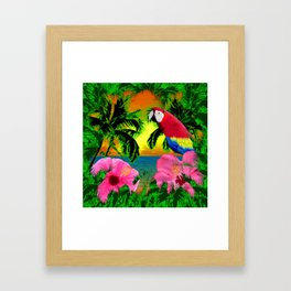 Palm Trees And Island Sunsets Framed Art Print