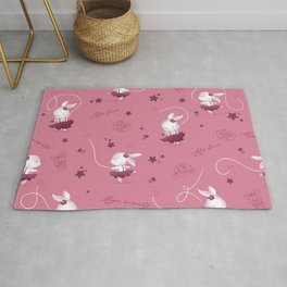 Magic moments with cute bunnies dark pink Rug