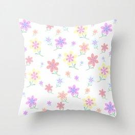 Watercolor Flower Garden Throw Pillow
