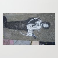 banksy Area & Throw Rugs featuring Banksy Hitchhiker to Anywhere (Charles Manson) by Limitless Design